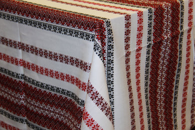 Woven Burgundy & Black Bulk Tablecloth (Sold by Metre)