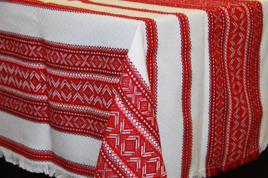 Red Woven Tablecloth 84
