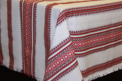 Red & Black Stripe Woven Tablecloth 59