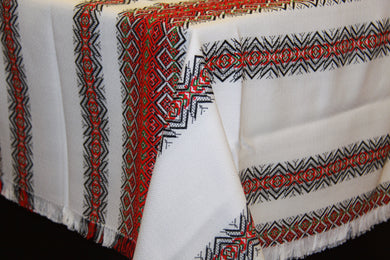 Red & Green Stripe Woven Tablecloth 57