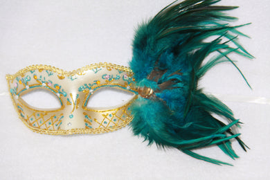 Feather Masquerade Mask Blue & Gold