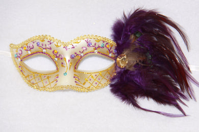 Feather Masquerade Mask Purple & Gold