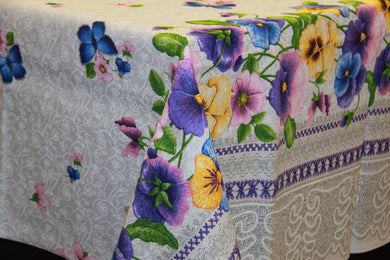 Printed Pansy Tablecloth 7'2 x 5