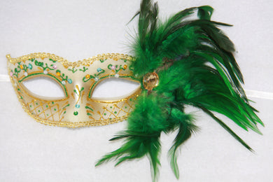 Feather Masquerade Mask Green & Gold