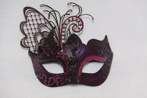 Masquerade Mask Purple Metal Butterfly