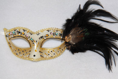 Feather Masquerade Mask Black & Gold