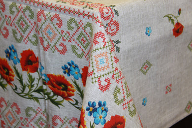 Printed Poppy Embroidery Tablecloth 5' x 6'4