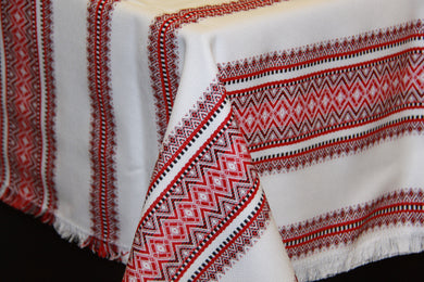 Red Woven Tablecloth 55