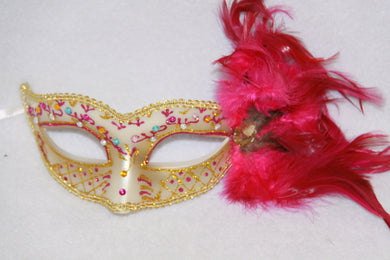 Feather Masquerade Mask Fuchsia & Gold