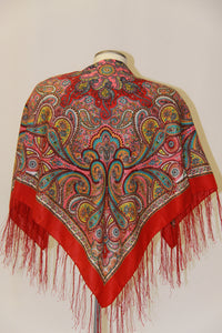 Silk Hustka Red Paisley
