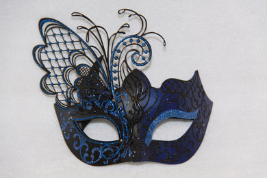 Masquerade Mask Blue Metal Butterfly