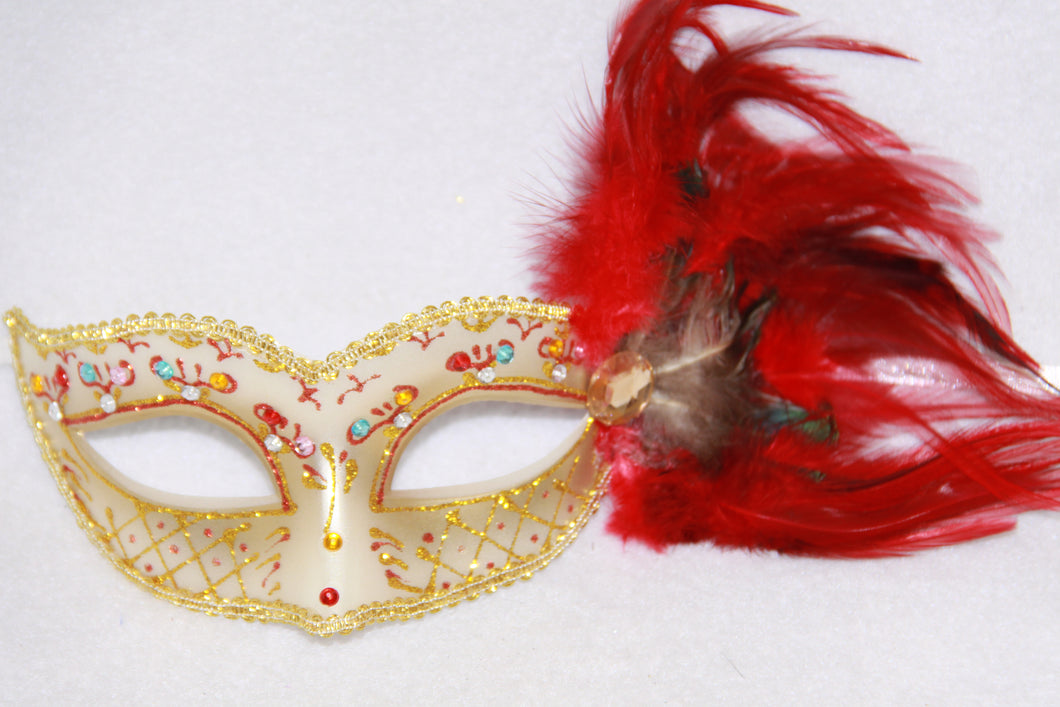 Feather Masquerade Mask Red & Gold