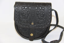 Load image into Gallery viewer, Hand Embossed Leather Shoulder Bag Black