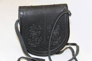 Hand Embossed Leather Shoulder Bag Black