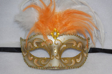 Feather Masquerade Mask Orange & Gold