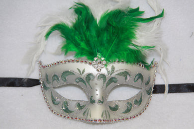 Feather Masquerade Mask Green & Silver