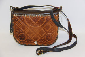 Hand Embossed Leather Cross Body Bag
