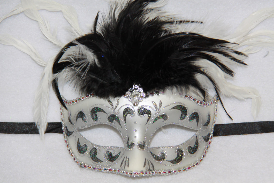 Feather Masquerade Mask Black & Silver