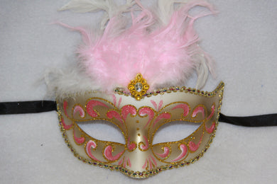 Feather Masquerade Mask Pink & Gold