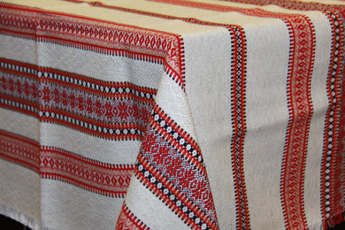 Red Natural look Woven Tablecloth 60