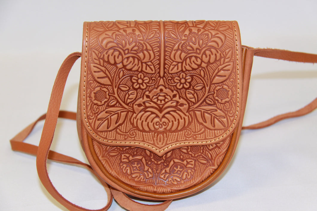 Embossed Tan Leather Mini Cross body Bag