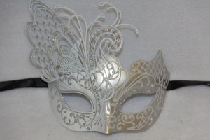 Masquerade Mask White Metal Butterfly