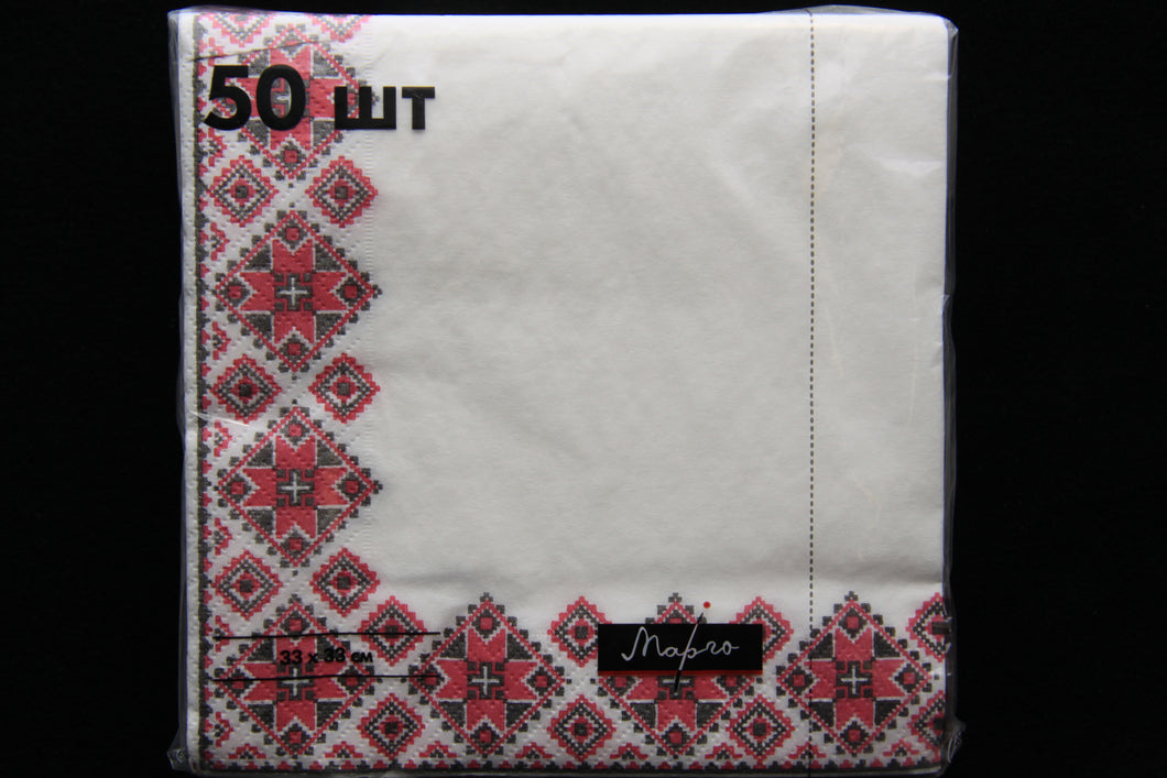 Red Embroidery Napkins 50pk
