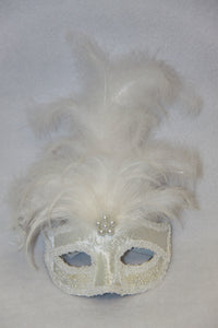 Masquerade Mask Beaded Feather White