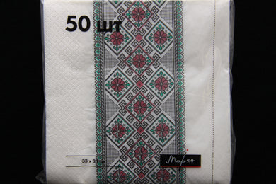 Green Embroidery Napkins 50pk