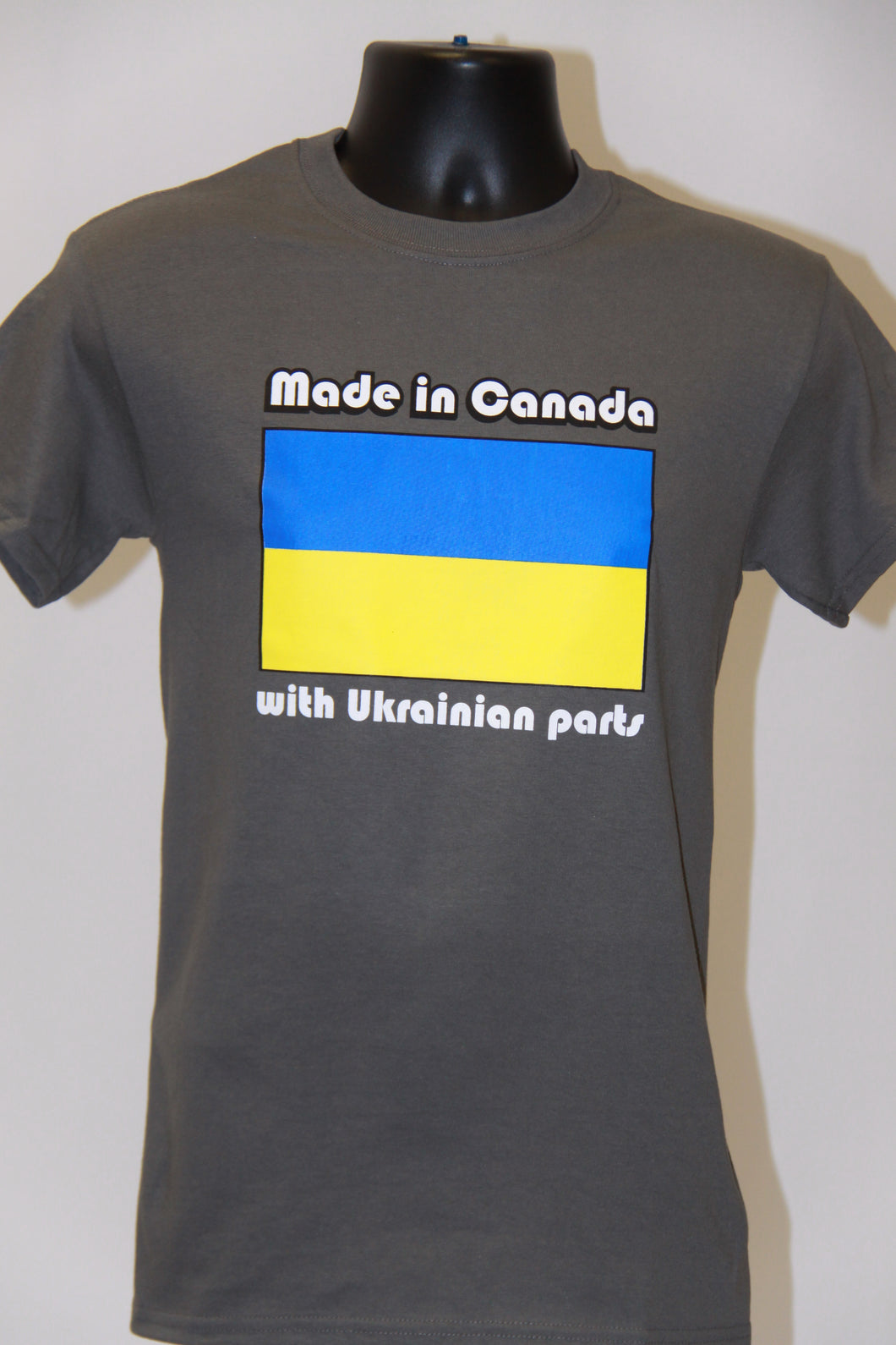 Made In Canada with Ukrainian Parts T-Shirt- Charcoal Grey