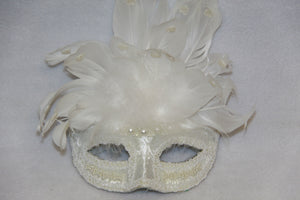 Masquerade Mask Beaded White