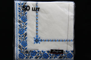 Blue Embroidery Napkins 50pk