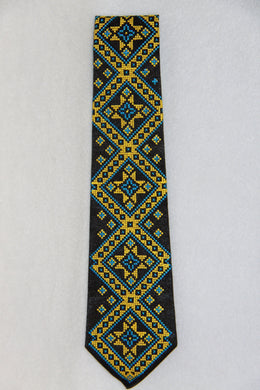 Blue & Yellow Embroidered Neck Tie
