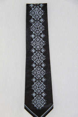 Blue & Grey Embroidered Neck Tie