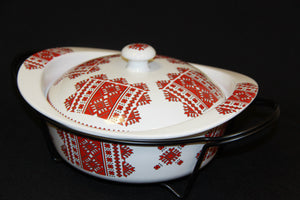 Round Casserole with Lid & Stand