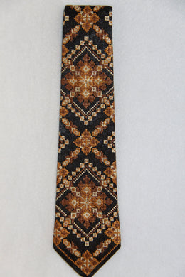 Brown Embroidered Neck Tie