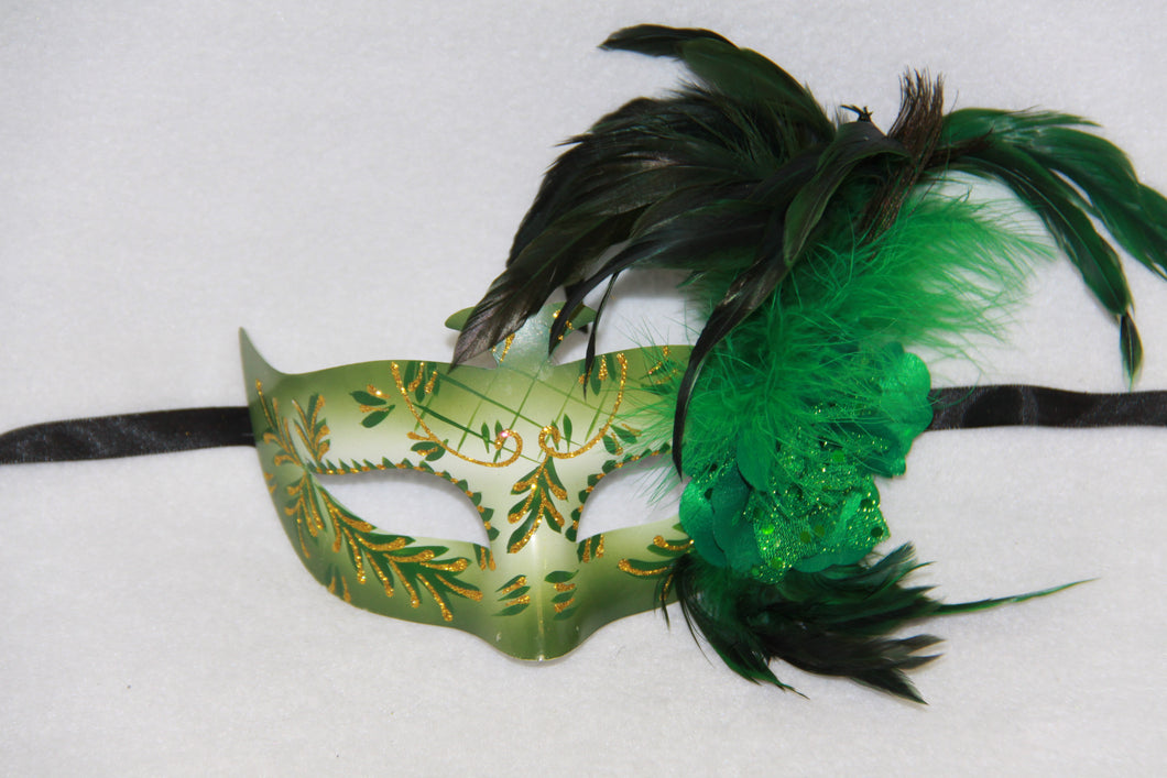 Masquerade Mask Flower Feather Green