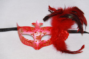 Masquerade Mask Flower Feather Red
