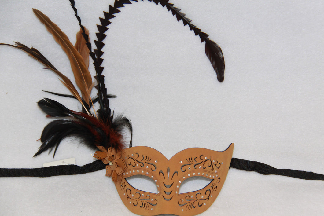 Masquerade Mask Feather Brown