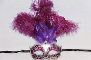 Masquerade Mask Purple Feathers