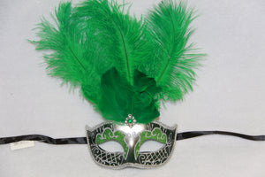 Masquerade Mask Green Feathers