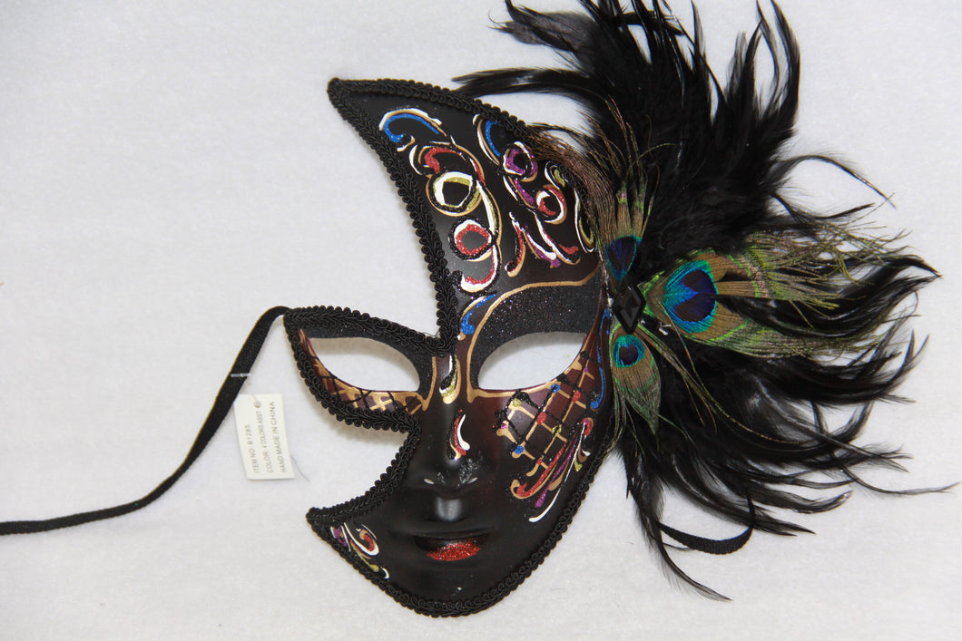 Masquerade Face Mask Black & Red Feathery