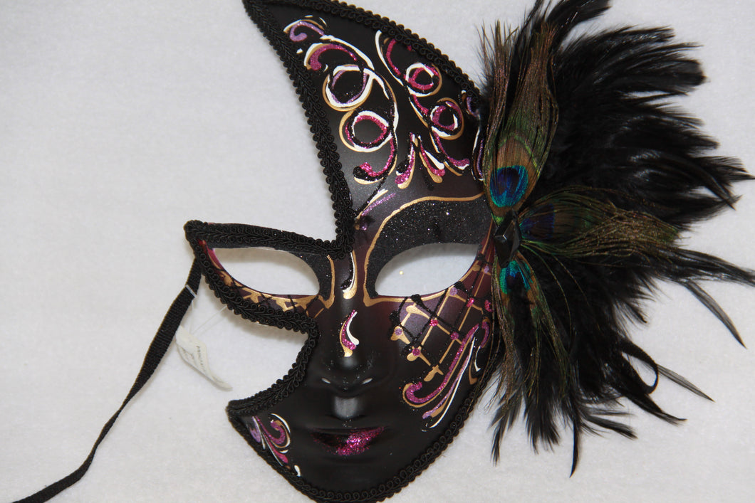 Masquerade Face Mask Black & Pink Feathery