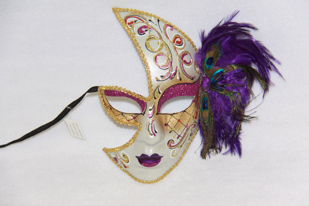 Masquerade Face Mask Purple Feathery