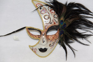 Masquerade Face Mask Black Feathery