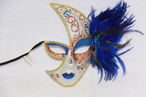Masquerade Face Mask Blue Feathery