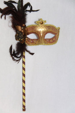 Masquerade Mask Brown with Stick
