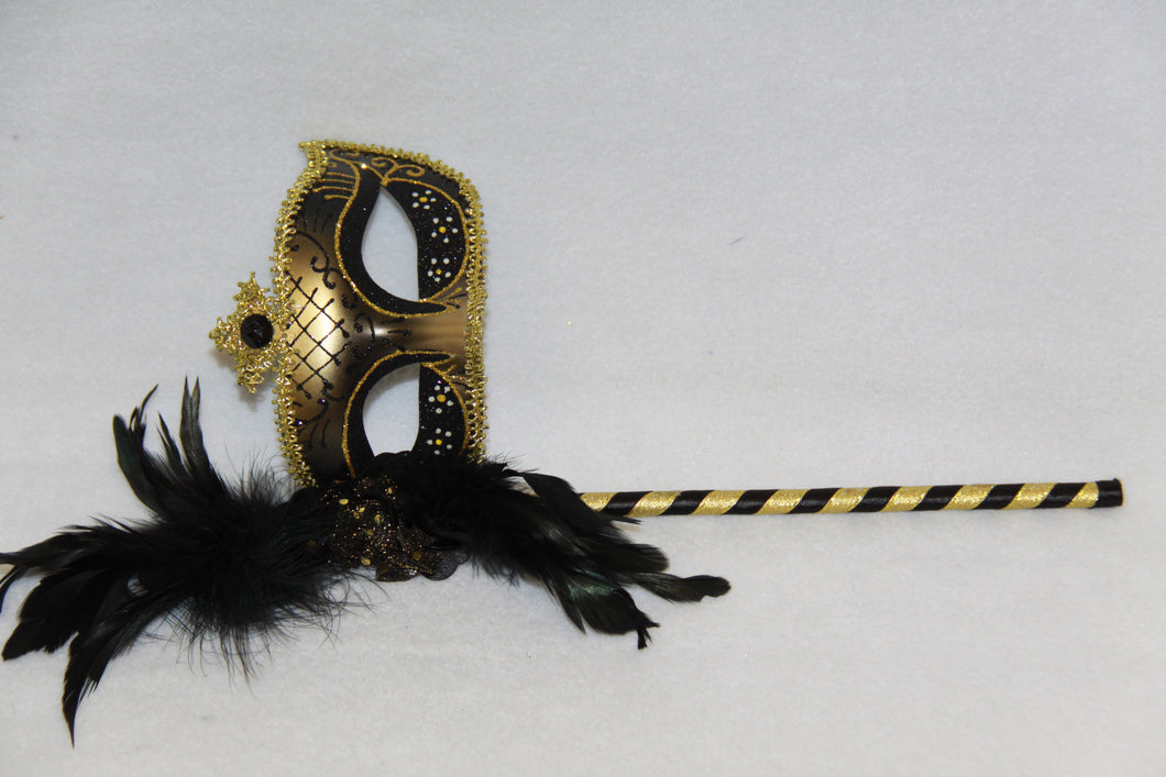 Masquerade Mask Black with Stick