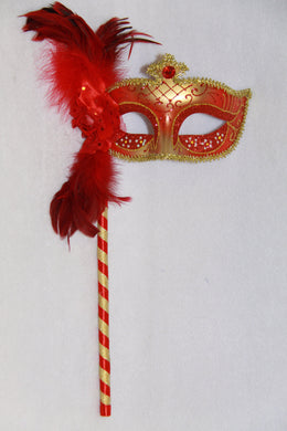 Masquerade Mask Red with Stick