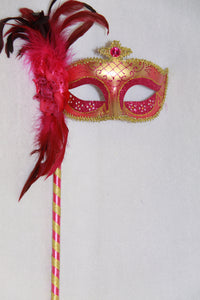 Masquerade Mask Fuchsia with Stick